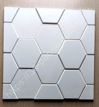"""3D панель гипсовая """"Шестигранник"""" 500-500-25мм"""
